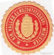 M. Kir. Vallás és Közoktatásügyi Minister pecsétbélyeg