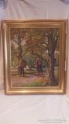 Kerényi : Séta a parkban olaj vászon festmény