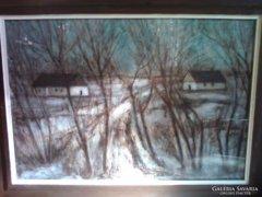 FONTOS  Sándor: Téli táj, szignózott,dedikált festménye