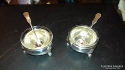 Ezüst fűszertartó pár stilizált sasos lábakkal