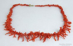 0J230 Régi gyönyörű korall nyaklánc nyakék