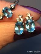 Valódi kék topáz és brill köves ezüst ékszer szett