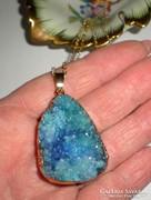Hatalmas, druzy agate kristály medál- 18gr+nyaklánc