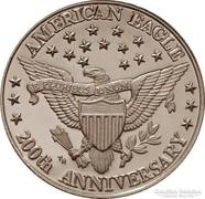 1 unciás American eagle 200th anniversary - színezüst érme