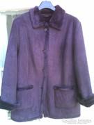 Különleges bíborlila színű vintage női írha hatású kabát