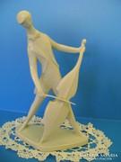 Zsolnay porcelán Art Deco fehér csellós