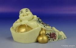 0H401 Jelzett csontszerű nevető Buddha szobor