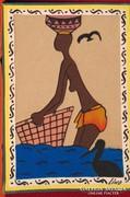 Afrikai nő a vízparton -különleges technikájú retró kép