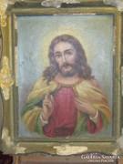 ANTIK Jézus portré 50 cm x 40 cm, olaj -vászon