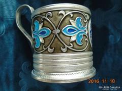 PODSTAKANNIK-tűzzománc virágos orosz-eredeti pohárral-6 db