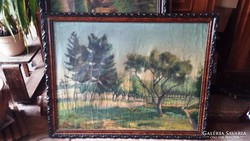 Óriási méretű antik keretben festmény 108 x 83 cm