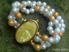 Arany sz gyöngyház igazgyöngy eozin gyöngy óra karkötő szett