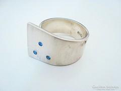 3 apró kék köves egyedi ezüst gyűrű