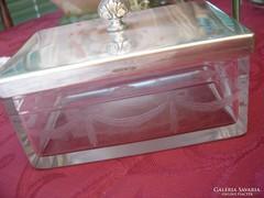 Argentor szecessziós  metszett üveges doboz