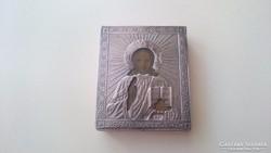 Orosz 875 ös (84) ezüst Krisztus kis ikon.