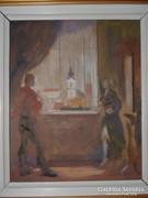 Kristófi János; Ablakban 20 cm x 24 cm, olaj,farost,kerettel