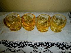 4 db cseh metszett vastag röviditalos pohár
