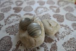 Vésett felületű kerek ezüst fülbevaló