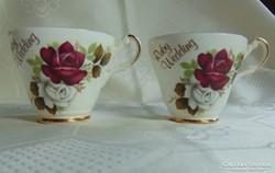 Vintage rózsás esküvői teás csésze