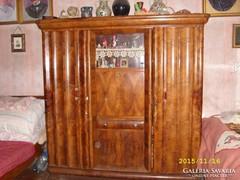 Antik vitrines diófa kombinált szekrény