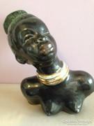 Izsépy (jelzett) art deco szerecsen nő kerámia szobor