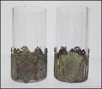 Vin Bravais kristály kúrapohár pár , ezüstözött gyűrűvel