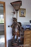 Antik faragott fa állólámpa 150cm