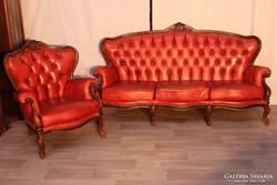 Chesterfield neobarokk,antikolt piros színű bőr ülőgarnitúr