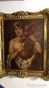 Lány Virágokkal - Alkotó: Szignós ( Bernáth Ila )