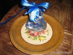 Antik régi vintage nagyméretű karácsonyfadísz horgolt csengő