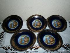 5 db antik jelenetes porcelán tálka