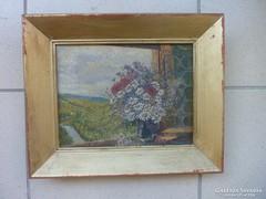 Látkép mezei virágcsokros ablakkal, jelzéssel