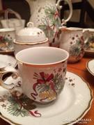 Karácsonyi mintás Hollóházi kávéskészlet hat személyes
