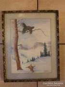 Muray Róbert: Madarak havas tájban, jelzéssel