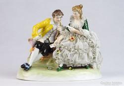 0J513 Unterweissbach porcelán kártyázó nő és férfi