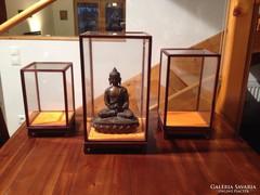 Igazi kínai üvegvitrin szett  (3 db) különböző méretben
