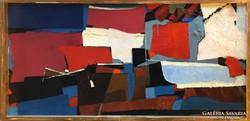 Csató György Absztrakt kompozíció olaj, vászon 40 x 80 cm