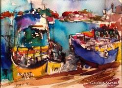 Neszebár.Biró Konrád gyönyörű művészi akvarellje.