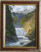 Vízesés napsütésben c. festmény, tájkép