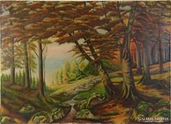 0J624 Régi jelzett olaj vászon erdőbelső festmény