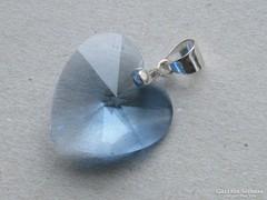 Ap 369 - Halványkék csiszolt szív medál függő ezüst
