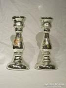 Antik foncsorozott tükrös fújt üveg gyertyatartó pár
