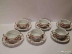 Hollóházi leveses csészék Henriett mintával