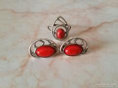 Ezüst szett(fülbevaló + gyűrű) borostyánkő díszítéssel eladó
