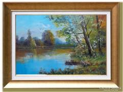 ---Tópart öreg fái- Nagyméretű gyönyörű  festmény- !!!!!