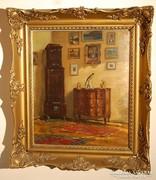 Gimes Lajos (1886-1945) híres magyar festőművész,  Enteriőr