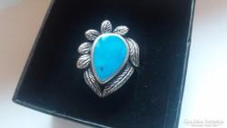 Régi Navajo ezüst gyűrű:türkiz kővel