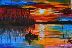 Leonid Afremov (1955-): Napkelte a tó fölött