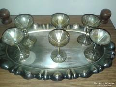 Régi Ezüstözött Tálca 6darab konyakos poharával