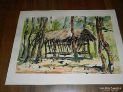 Szepes : akvarell kép -  Az etető az évbicsányi erdőben
